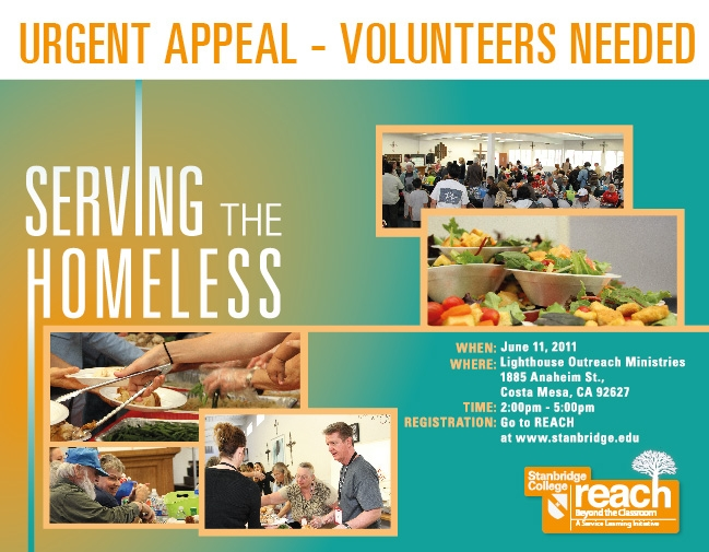 URGENT APPEAL! Volunteers needed to serve the homeless!