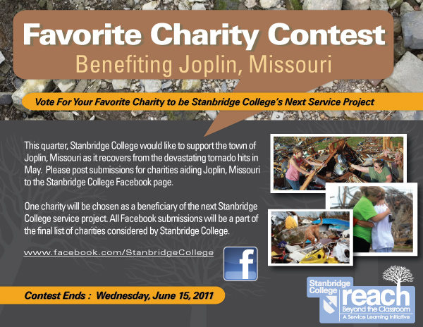 Favorite Charity Contest to Support the Joplin Tornado Disaster