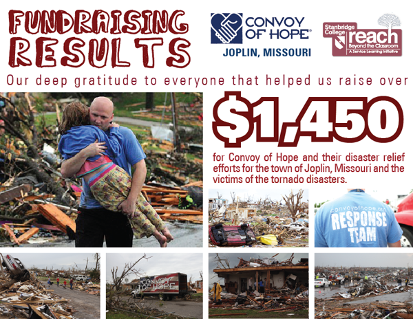 Stanbridge College Raises Over $1,450 for Convoy of Hope and the town of Joplin, MO