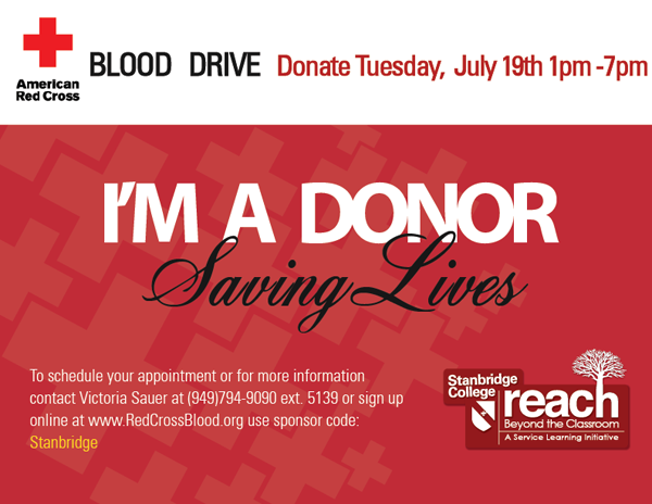 Help Save Lives at the Stanbridge College Blood Drive: July 19th