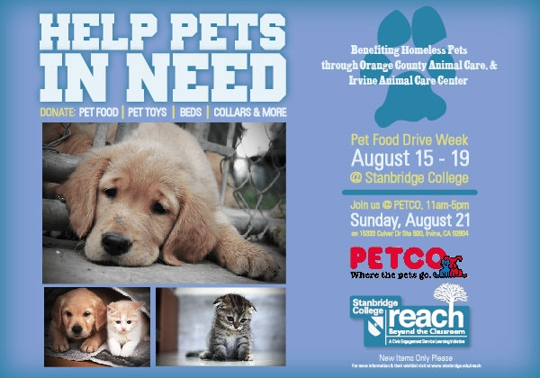 Help OC furry friends in need! Stanbridge College Pet Food and Supplies Drives in August