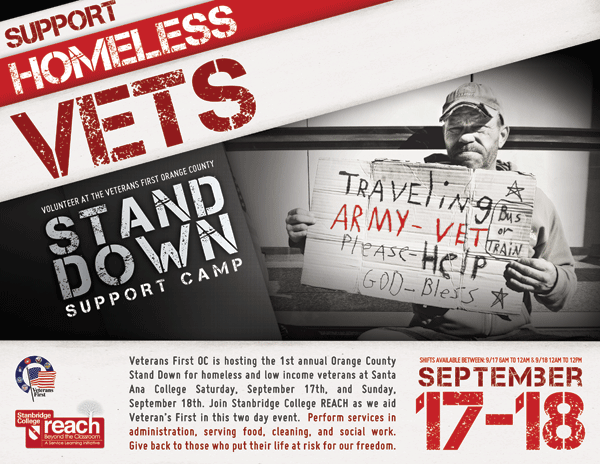 Help Veterans First with the 1st Annual OC Stand Down for Homeless Veterans