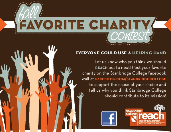 Stanbridge College Fall Favorite Charity Contest: Submit your Favorite Charity today on Facebook!