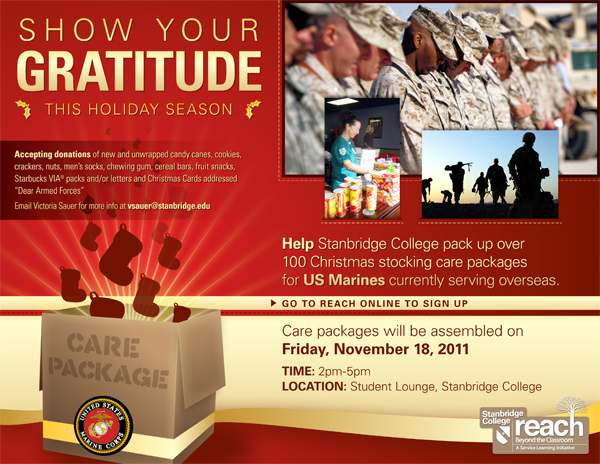 Help Stanbridge College Send Christmas Care Packages to Overseas Marines