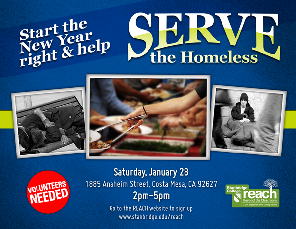 Be the Change: Help Serve a Meal to the Homeless of Orange County 1/28
