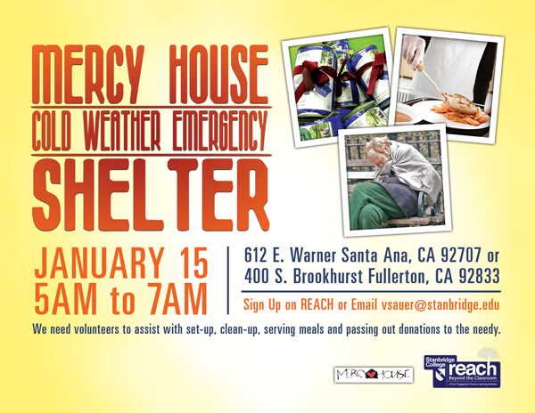 Volunteers Needed to Assist Mercy House Cold Weather Emergency Shelter for OC Homeless