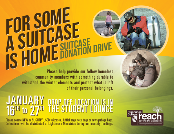 Stanbridge College Suitcase Drive for the Homeless Starts January 16th
