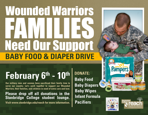 Support our Troops' Toddlers! Stanbridge College Baby Food & Diaper Drive for Wounded Warrior Families