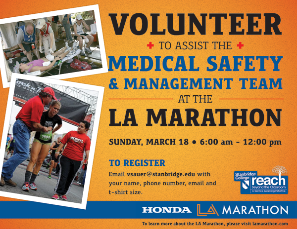 Medical Safety Volunteers Needed at the LA Marathon 3/18!