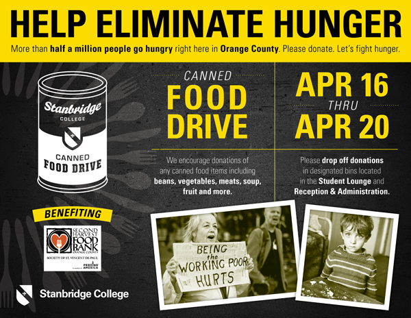 Starting 4/16 Canned Food Drive Week to Help Eliminate Hunger in OC