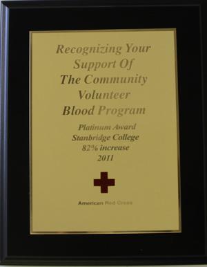 Stanbridge College Receives American Red Cross Platinum Achievement Award