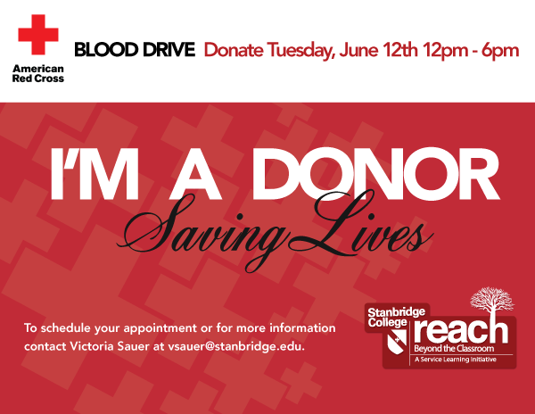 Donors Needed at June 12th Red Cross Blood Drive at Stanbridge College