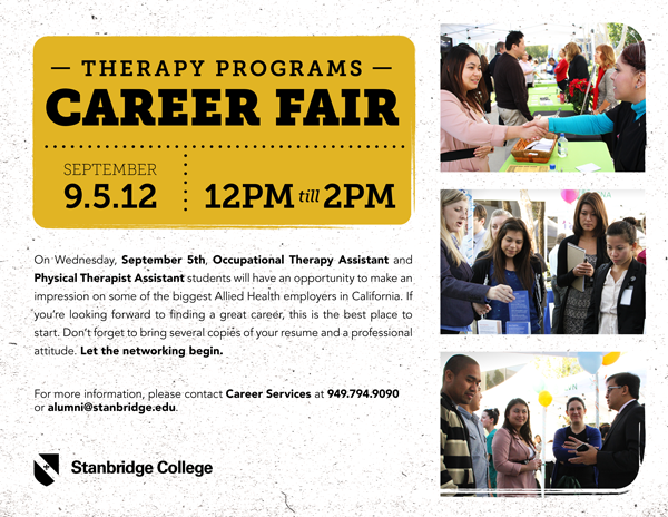 Stanbridge College Hosts Fall 2012 Therapy Programs Career Fair on September 5th!