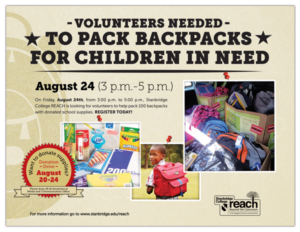 August 24th Volunteers Needed to Help Pack Backpacks for Children in Need!