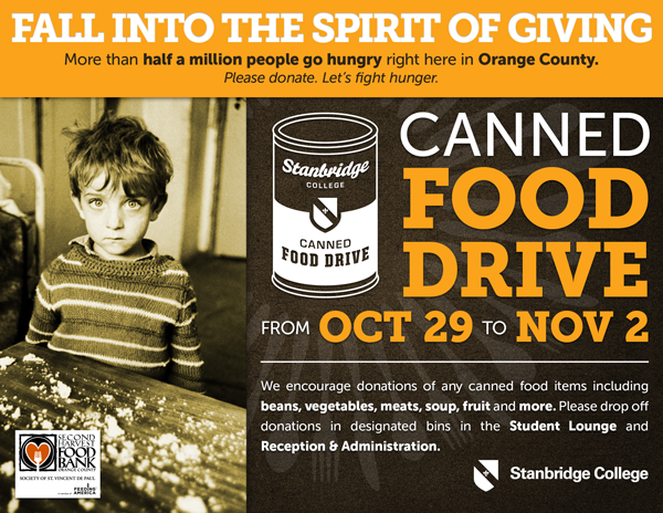 Fall into the Spirit of Giving: October Canned Food Drive Week 10/29-11/2