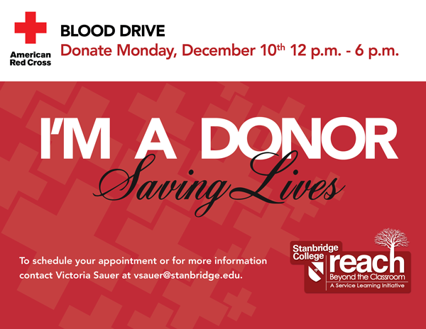 Donors Needed! December Blood Drive 12/10/12 at Stanbridge College