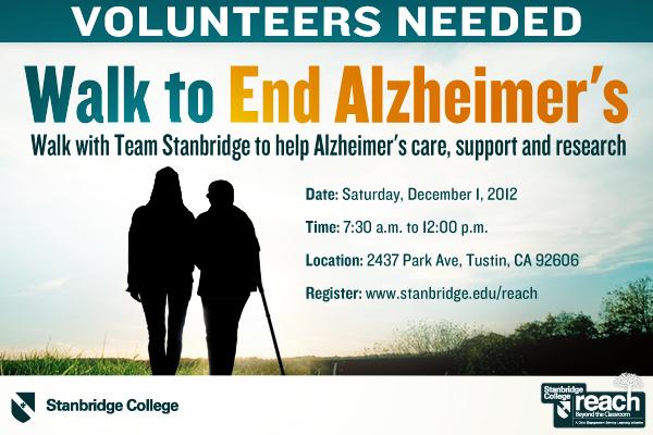 Walk to End Alzheimer's with Team Stanbridge College 12-1-12