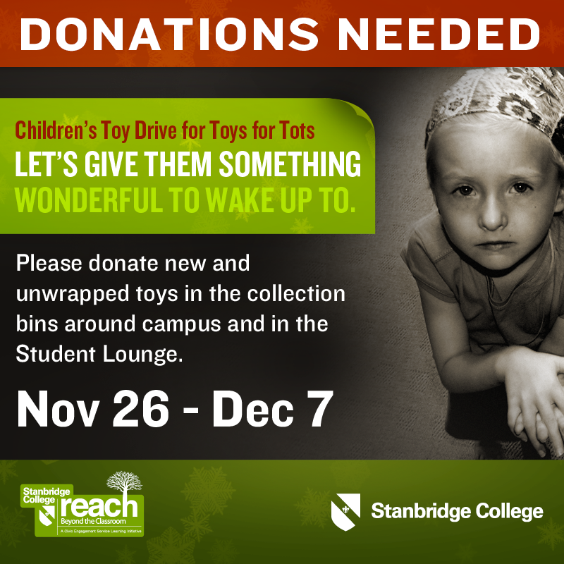 Children's Toy Donation Drive for Toys for Tots at Stanbridge College