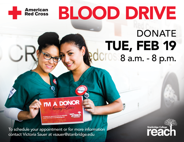 Give from your heart: February Blood Drive at Stanbridge College