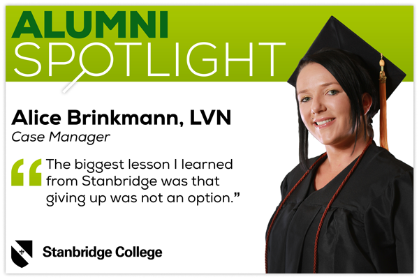 Stanbridge Alumni Spotlight: Alice Brinkmann, LVN, Never Gave Up