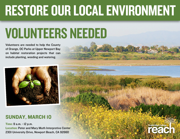 Volunteers Needed for Upper Newport Bay Habitat Restoration Sunday, March 10th