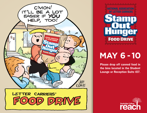 Stamp Out Hunger: National Letter Carriers' Food Drive May 6th – May 10th at Stanbridge College