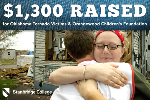 Stanbridge College Students Raise Over $1,300 for Oklahoma Tornado Victims and Orangewood Children's Foundation