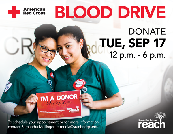 Donors Needed at September 17th Red Cross Blood Drive at Stanbridge College