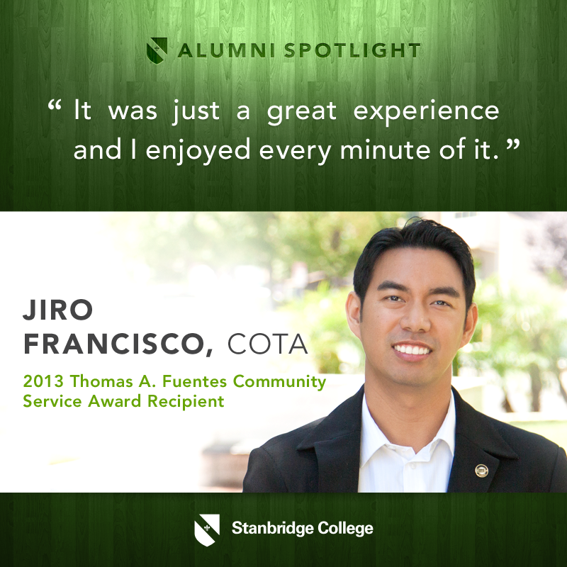 I Love OT: Stanbridge Spotlight on Jiro Francisco, 2013 Community Service Award Winner