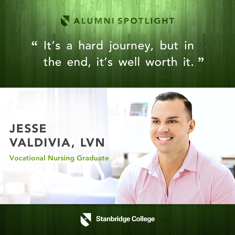 Alumni Spotlight: Jesse Valdivia, LVN, Makes the Climb from Retail to Nursing