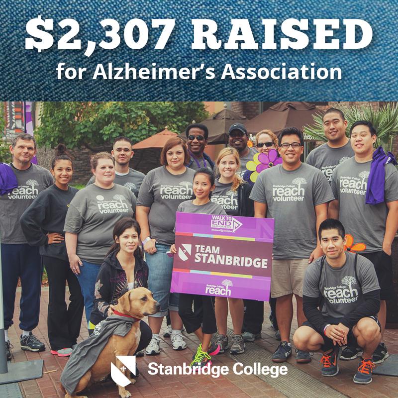 Stanbridge College Raises $2,307 for Alzheimer's Association's 2013 Walk to End Alzheimer's