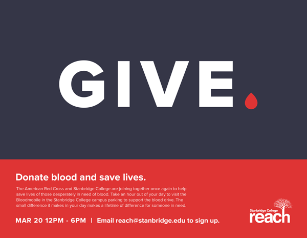Donors Needed for March 20th Red Cross Blood Drive at Stanbridge College