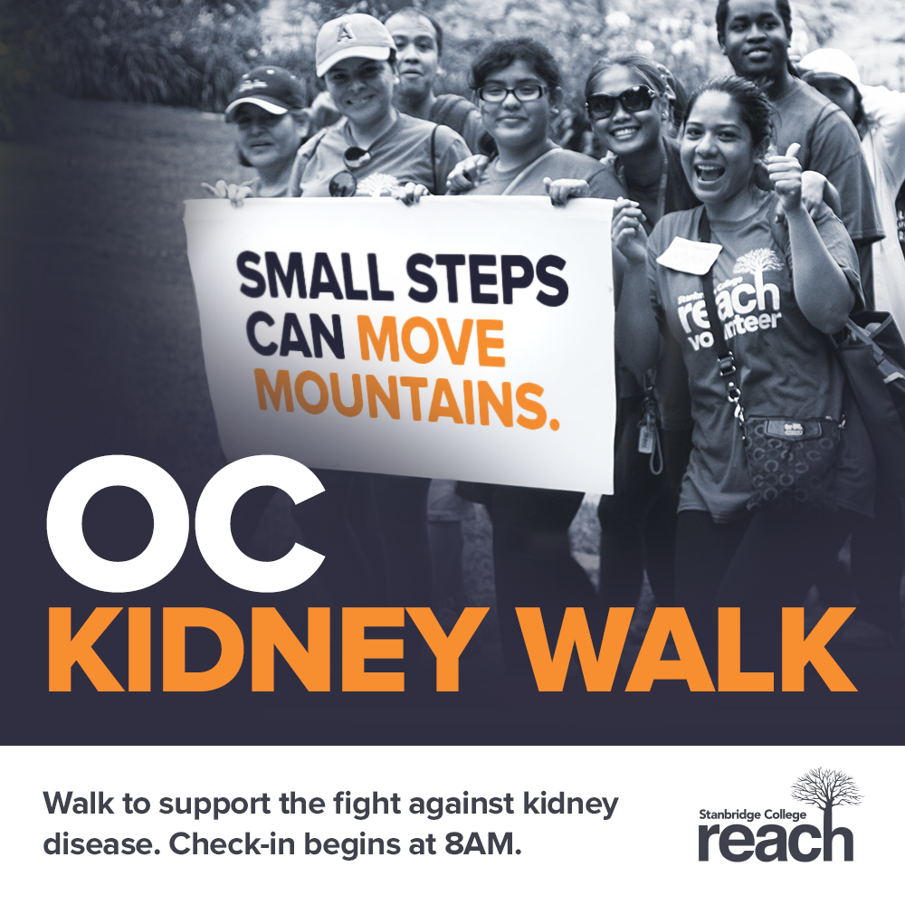 Join Team Stanbridge at the OC Kidney Walk – Sunday 6/8 – Stanbridge College Reach