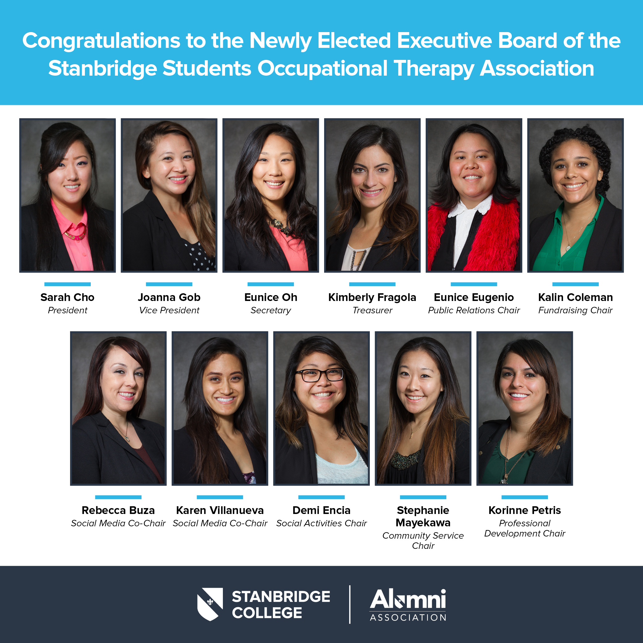 Congratulations to the Newly Elected SSOTA Executive Board